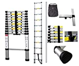 Todeco - Telescopic ladder, Foldable Ladder - Maximum load: 330 lbs - Number of steps: 11 - 10.5 feet, Extra gap, FREE Carry bag, EN 131-6