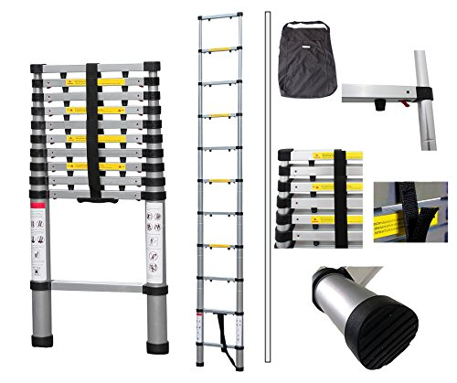 Todeco - Telescopic ladder, Foldable Ladder - Maximum load: 330 lbs - Number of steps: 11 - 10.5 feet, FREE Carry bag, Extra gap, USA