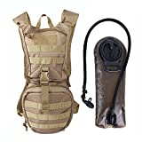 whistle buckle 1 2 - Unigear Tactical Hydration Pack Backpack 900D with 2.5L Bladder for Hiking, Biking, Running, Walking and Climbing (TAN)