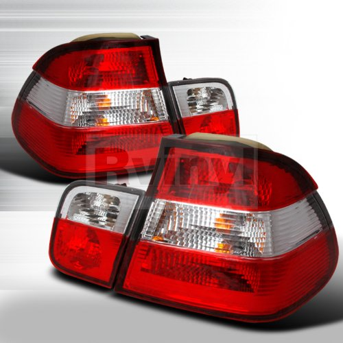 2 3 Door E36 Series - Spec-D Tuning LT-E362RPW-DP Bmw E36 3 Series 2 Door 318I 325I 328I M3 Red Clear Tail Lights Lamps Pair