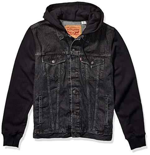 Levi's Men's Big Big & Tall Hoodie Trucker Jacket-Tall, Hood Up Black, L T (Jacket Levis Jean Hoodie)