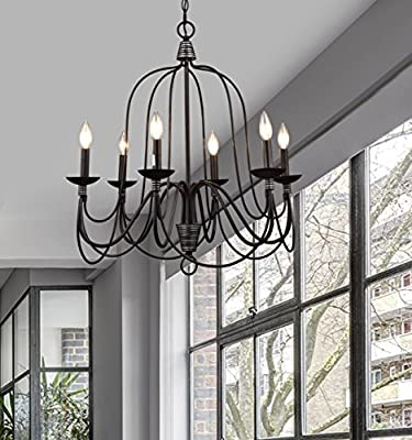 CLAXY Ecopower Lighting Industrial Vintage 6-lights Candle Chandelier