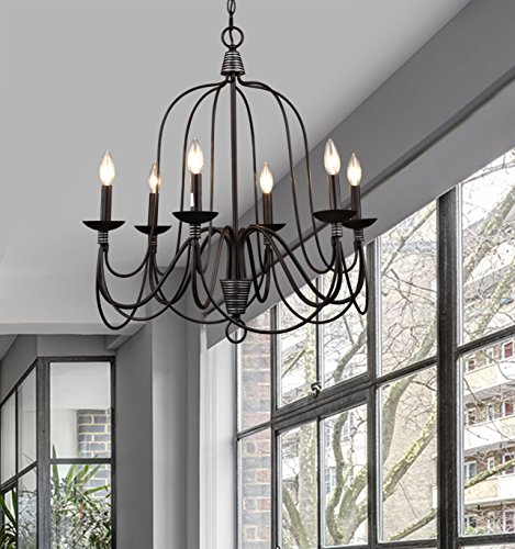 CLAXY Ecopower Lighting Industrial Vintage 6-Lights Candle Chandeliers - Industrial vintage 6-light candle chandeliers, hightlight candelabra oil rubbed bronze farmhouse dining room lighting ADJUSTABLE HEIGHT: removable chain to customize the lighting height; ETL listed for dry locations; sloped ceiling installation compatible Use 6*E12 cap based, bulbs NOT included; fully dimmable with compatible dimmer switch - kitchen-dining-room-decor, kitchen-dining-room, chandeliers-lighting - 51GRvjJzhZL -