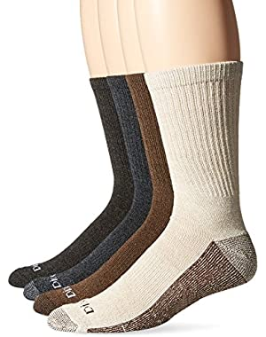 Men's 4 Pack Medium Weight Marled Accent Moisture Control Crew Socks