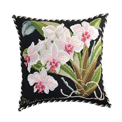 Phalaenopsis Orchid Needlepoint Tapestry Kit with Black Background from Elizabeth Bradley Premium English Needlework Pillow or Rug Project with 100% Wool Yarns. Exotics - Orchid Needlepoint Pillow