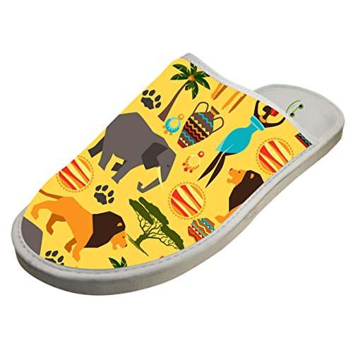 KOUY Africa Specific Style Closed Toe Cotton Slippers Warm Soft Indoor Shoes Non-watertight 9 D(M) US by KOUY