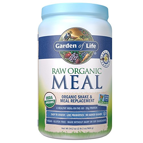 (Garden of Life Meal Replacement Vanilla Powder, 28 Servings, Organic Raw Plant Based Protein Powder, Vegan,)