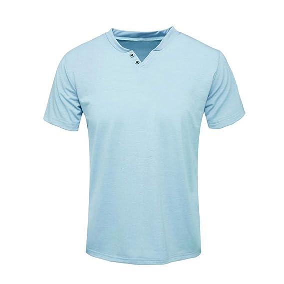 Vectry Moda Hombre Manga Corta Sólido Cómodo Casual Camiseta ...