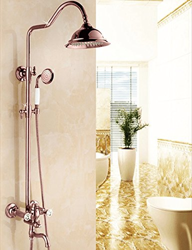 ETERNAL QUALITY Bathroom Sink Basin Tap Brass Mixer Tap Washroom Mixer Faucet The copper pink gold retro shower kit antique hot & cold water faucet kit Kitchen Sink Taps