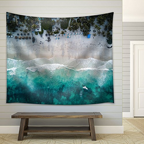 Landscape with Bird View of Beach Fabric Wall Tapestry