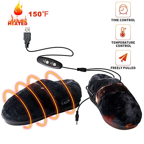 (Heated Cold Weather Winter Warm Shoes,BIAL Heating Pad Indoor House Slipper Shoes,Time and Temperature Control USB Electric Heated Up Comfortable Plush Memory Foam Slippers to Keep Feet Warm )