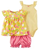 Carter's Baby Girls 3-Piece Bodysuit & Diaper Cover Set (Floral) (Newborn)