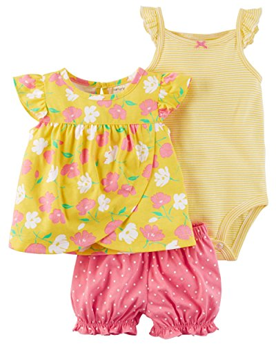 Carter's Baby Girls 3-Piece Bodysuit & Diaper Cover Set (Floral) (Newborn) by Carter's