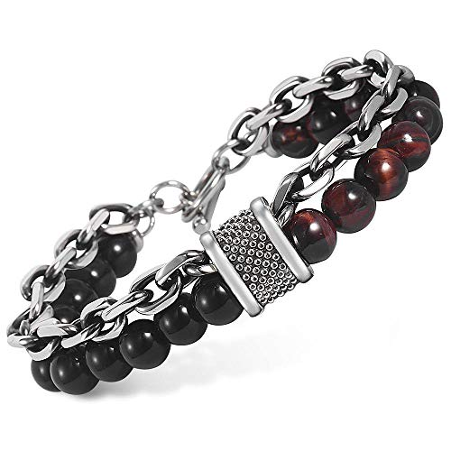 Mens Stainless Steel Tigers - Trendsmax Natural Red Tiger Eyes Beaded Bracelet for Men Boys Gunmetal Stainless Steel Rolo Cable Link Chain Bracelet 8inch