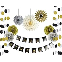 SUNBEAUTY Black and Gold Party Decorations Happy Birthday Banner Paper Fans Circle Garland Pom Poms Flowers Adult Birthday Party for 21st 30th 50th 60th Party Decoration