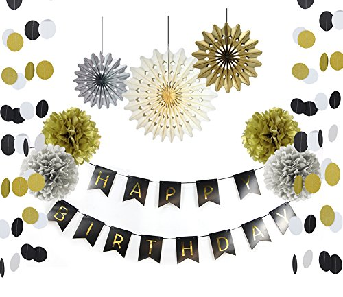 SUNBEAUTY Black and Gold Party Decorations Happy Birthday Banner Paper Fans Circle Garland Pom Poms Flowers Adult Birthday Party 21st 30th 50th 60th Party Decoration
