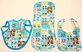 Hawaiian Bib Set (Bib, Bapron and Burp Cloth) - Little Hawaiian Characters in Blue (S)