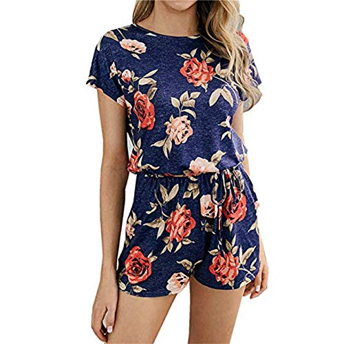Thenxin Womens Casual Elastic Waist Romper O Neck Short Sleeve Floral Print Jumpsuit with Waist Tie(Blue,L)