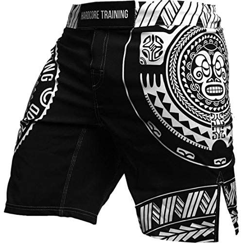 Hardcore Training Fight Shorts Men's Ta Moko Black Boxing MMA Combat BJJ Grappling Fitness Muay Thai Kickboxing No Gi