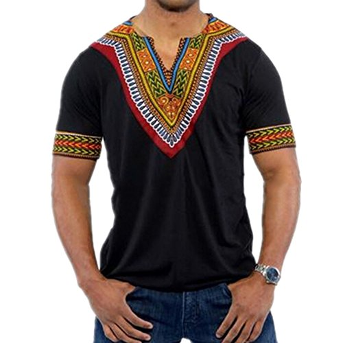 Da Top Stile Manica Asiatico T Veck Corta Juleya Uomo V Nero shirt IAOTnq
