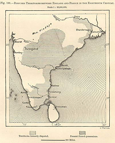 Map Of England To France.Amazon Com India England France Disputed Territories 18th