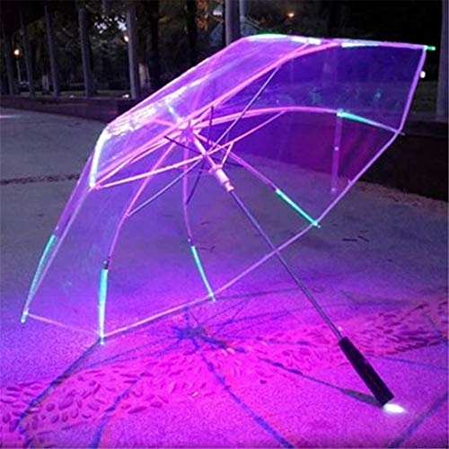 XXLMIJP 8 Rib Light Up Blade Runner Style Changing Color LED Umbrella with Flashlight Transparent Handle Straight Umbrella Parasol (Umbrella Patio Stand Diy)