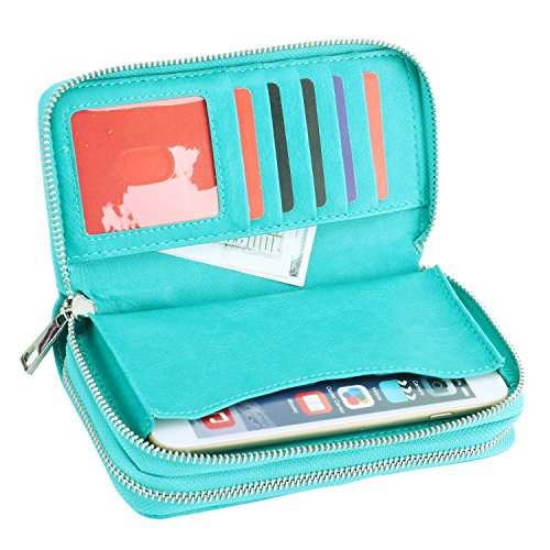 Women 6.5inch Multi-function Zipper Leather Wallet Case with Card and Money Slots for IPhone 7 SE 5s 6s 6 Plus and Samsung Galaxy S4 S5 S6