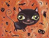 "Halloween Black Cat Art Print ""Halloweenie"" - Mat"