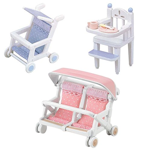 Best Japan Shopping - 3 Sets - Two Baby Carriages (Single, Double) and High Chair Sets (Japan Import)