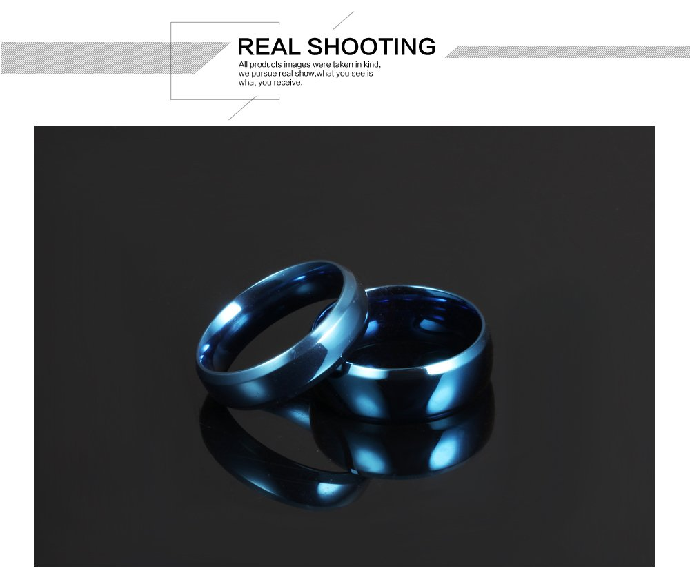 Fate Love Stainless Steel Our Love Pure as The Sea Noble Ocean Blue Couple Rings Wedding Band,New Box by Fate Love (Image #3)