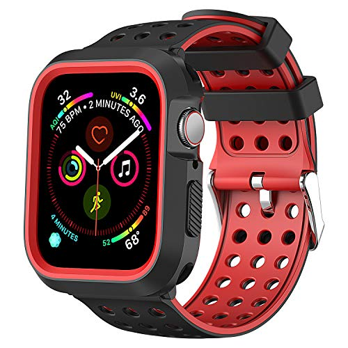 Greatfine Compatible for Apple Watch Band 44mm 40mm with Case, Shock-Proof Protective Case Silicone Sport Replacement iWatch Band 44mm Compatible with Apple Watch Series 4 (Black red, 44mm)