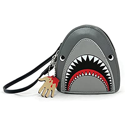 Scary Shark Wristlet with Chained Bloody Hand in Vinyl Material