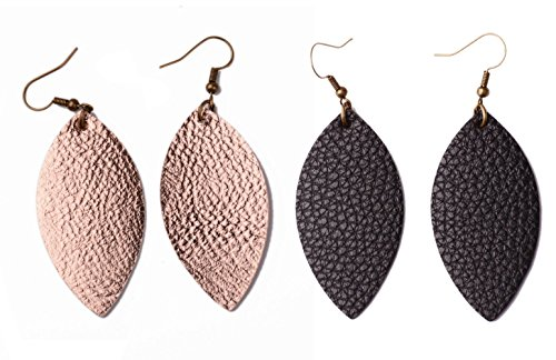 L&N Rainbery 2 Pairs Leaf Leather Earrings Faux Leather Teardrop Earrings Metallic Drop Earrings (Rose Gold+Black) ()