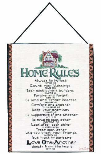 Manual Inspirational Collection Wall Hanging with Frame, Home Rules with Verses X Carol Taylor, 13 X 18-Inch by Manual Woodworker