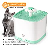 Pet Fountain Cat Water Dispenser - DESINO Smart Automatic Super Quiet Flower Drinking Water Fountain, 2L Electric Healthy and Hygienic Water Bowl with 1 Replacement Filter for Dogs, Cats, Birds