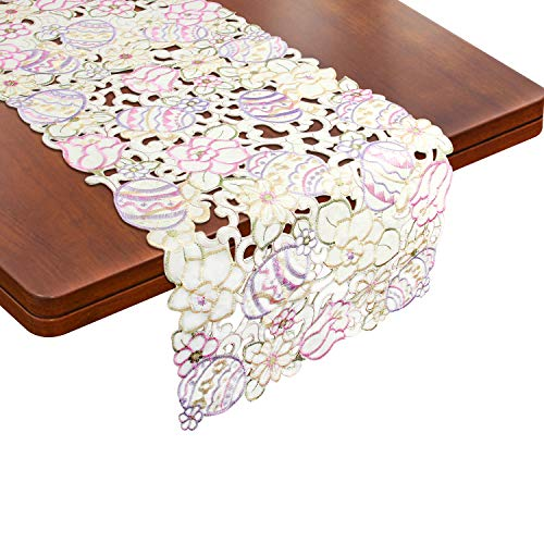 Easter Eggs Flowers Table Runner, Embroidered Cut-Work Table Cloth Cover Placemats for Easter Holiday, Dinner Party, Spring Home Kitchen Dinning Use and Decor 13 x 70 ()