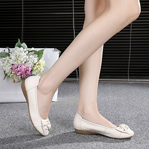 B Chaussure avec Ballerines Nœud Beige Confortable Simple Femme Frestepvie Bateau Elégant Plate Mode Casual YwOqxZHI