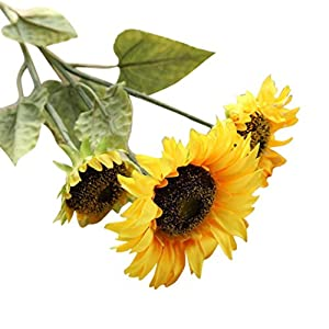 Artificial Bouquet,Napoo Fake Flowers Yellow Sunflower Floral Party Home Decor 5