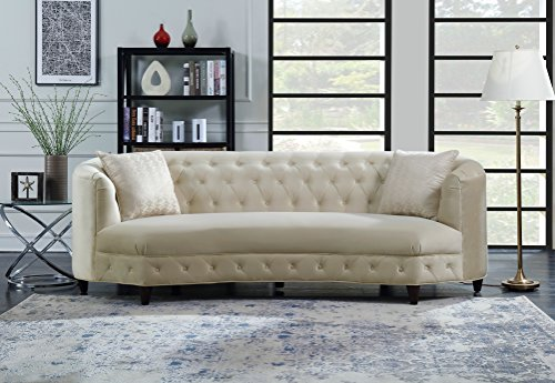 Iconic Home FSA2803-AN Leeba Kidney Shaped Club Sofa Tufted Velvet Down Mix Cushions with Espresso Finished Wood Cone Legs and 2 Accent Throw Pillows Couch Modern Traditional Champagne