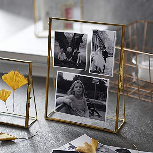 ES ESSENTIALS Brass & Glass Hinged Cover Table top Photo Frame (8