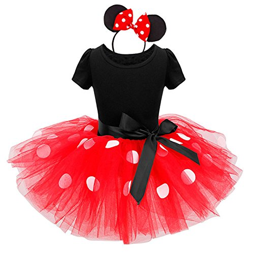 Minnie Costume Baby Girl Dress Mouse Ear Headband Polka Dot Dress ()