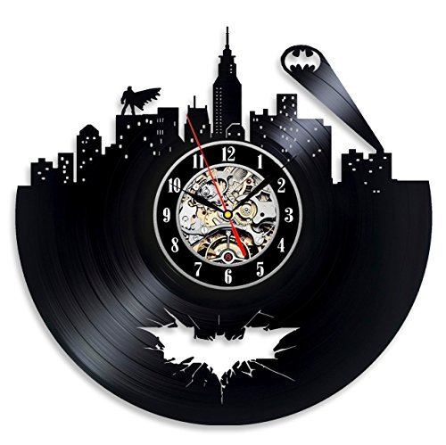 Vinyl Evolution Batman Arkham City Logo Best Wall Clock - Decorate your home with Modern Large Superhero Art - Gift for friend, man and boy - Win a prize for a feedback