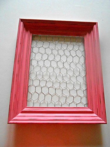 Large Chicken Wire Frame, Upcycled Picture Frame, Vintage, Wild Pink, Shabby Chic, Distressed, Solid Wood, Hand Painted, Rustic, Girls Room Decor, Children's Room Decor, Jewelry Holder, Memo Holder (Photo Wire Frame Chicken)