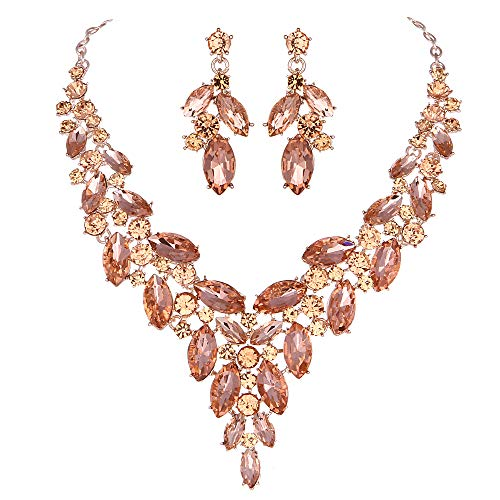 Modbridal Formal/Ball/Prom/Cocktail/Evening/Event Party Rhinestone Necklace and Earrings Jewelry Sets for Wedding Dress (Rose Gold-Peach)