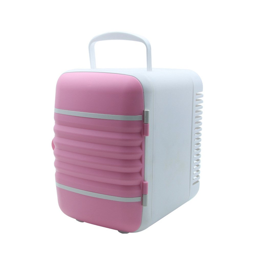 HM&DX Mini Fridge for Car, Cooler and Warmer Thermoelectric Portable Compact Refrigerator Without Freezer-Pink 4L