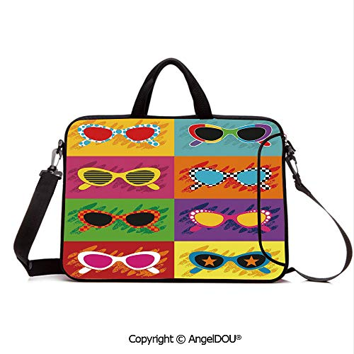 - AngelDOU Neoprene Printed Fashion Laptop Bag Pop Art Style Sunglasses Vibrant Colorful Combination Summer Fun Decorative Notebook Tablet Sleeve Cases Compatible with Lenovo Asus Acer HP Multicolor