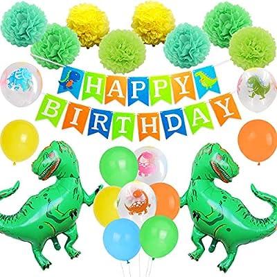 Juego de decoración de fiesta de cumpleaños de dinosaurio ...