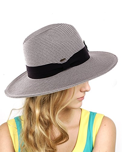 NYFASHION101 Lightweight Solid Color Band Braided Panama Fedora Sun Hat