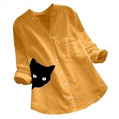 Reooly Mangas de algodón y Lino, Camisa con Cuello de Pico y ...
