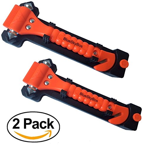BlueSkyBos Value 2 Pack - Emergency Escape Tool Auto Car Window Glass Hammer Breaker and Seat Belt Cutter Escape 2-in-1 Tool - Underwater Window